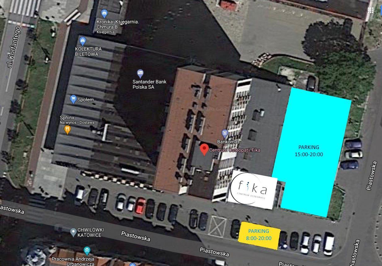 Mapka informacyjna wskazująca miejsca parkingowe ośrodka zdrowia